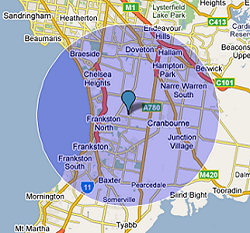 10 Mile radius around Carrum Downs