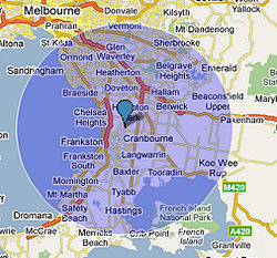 20 Mile radius around Carrum Downs